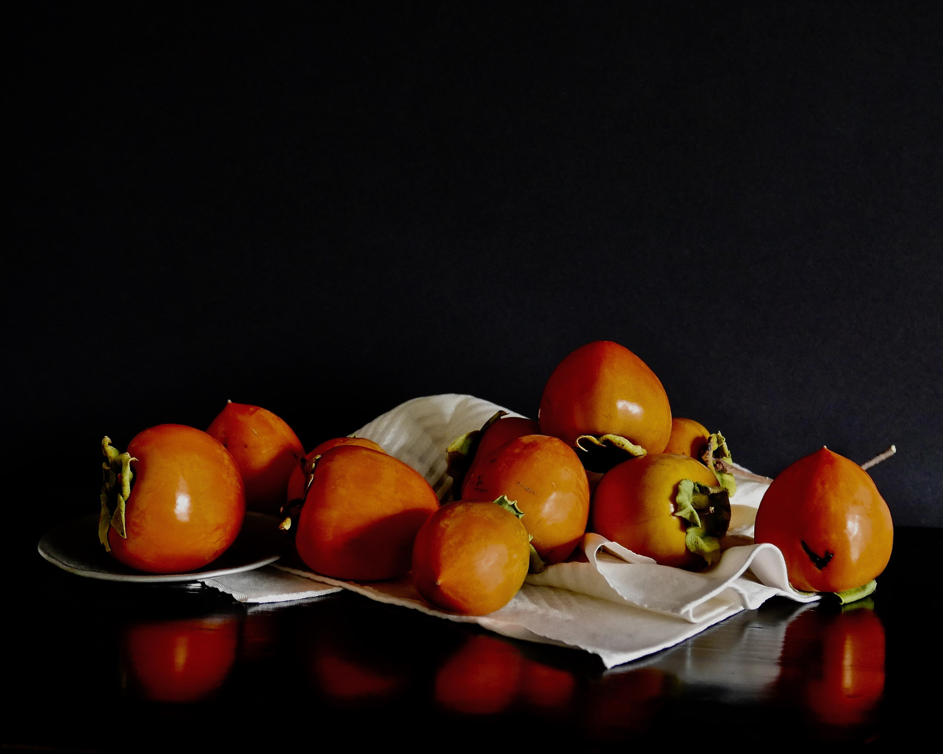 Persimmons On Linen