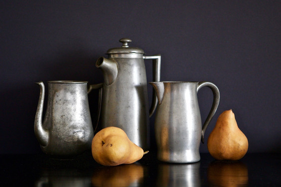 Three Pewter Pitchers and Pears