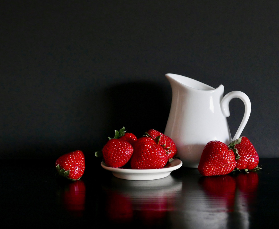 Strawberries and White Pitcher