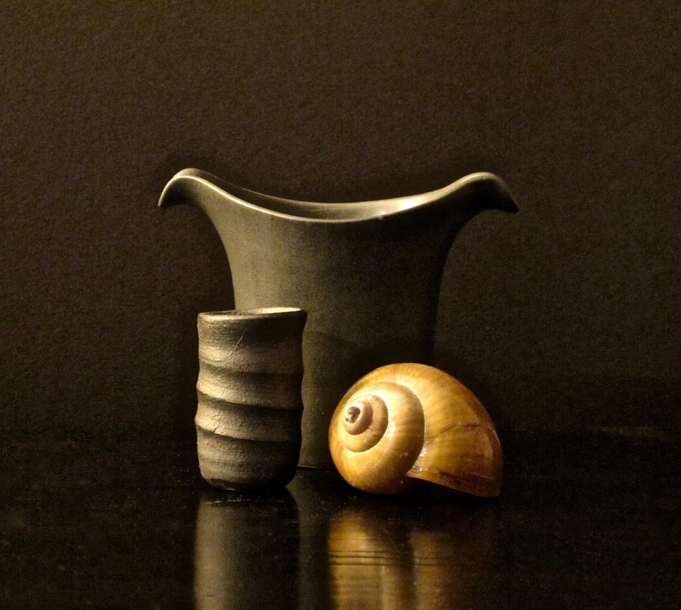 Black Creamer, Black Vase, Shell