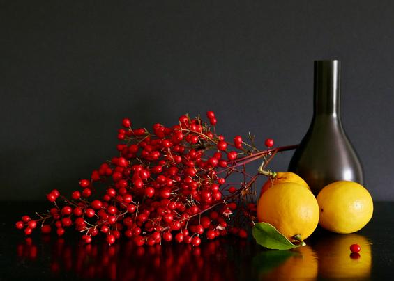 Berries, Lemons, and Black Vase