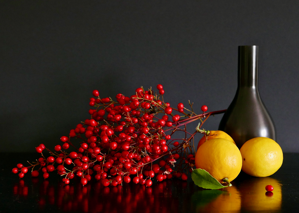 Berries, Lemons, and Black Vase