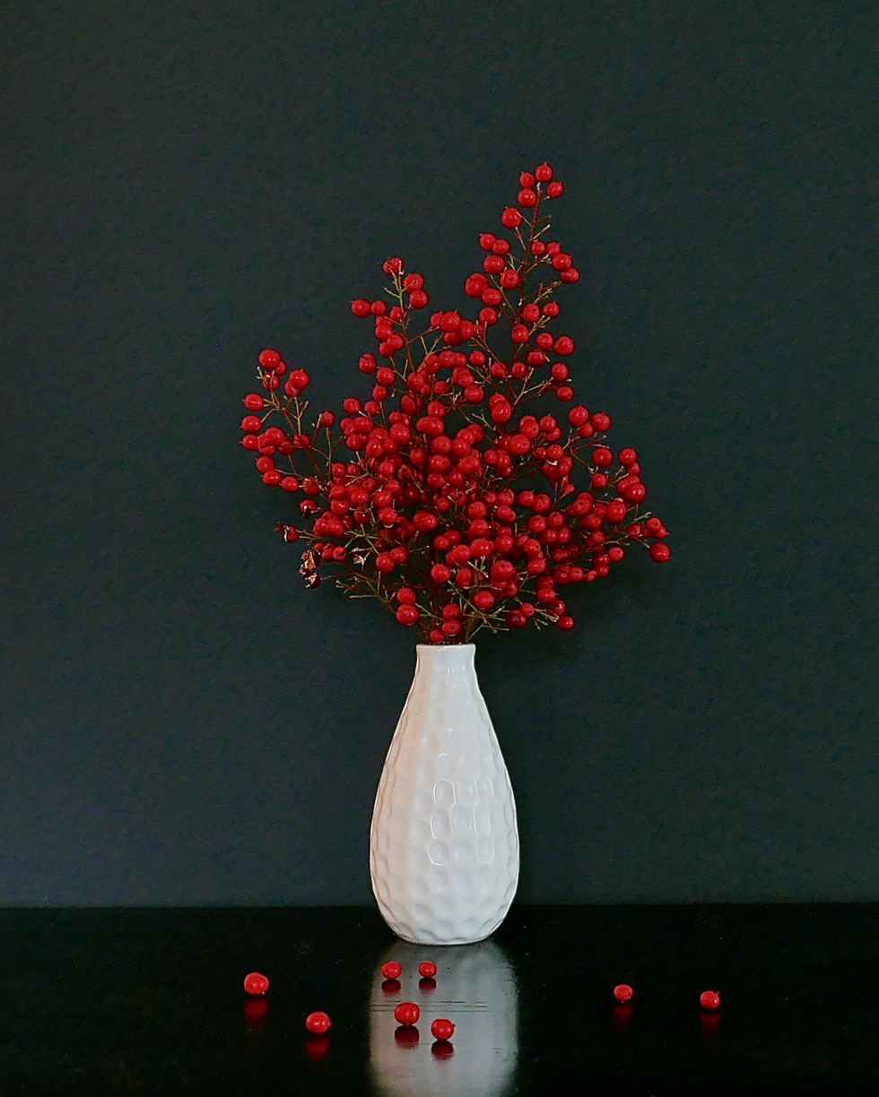 Red Berries White Vase