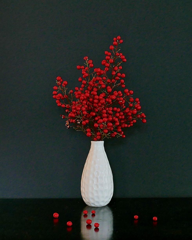 Red Berries White Vase