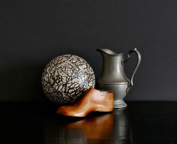 Ceramic Ball, Shoe Form, and Pewter