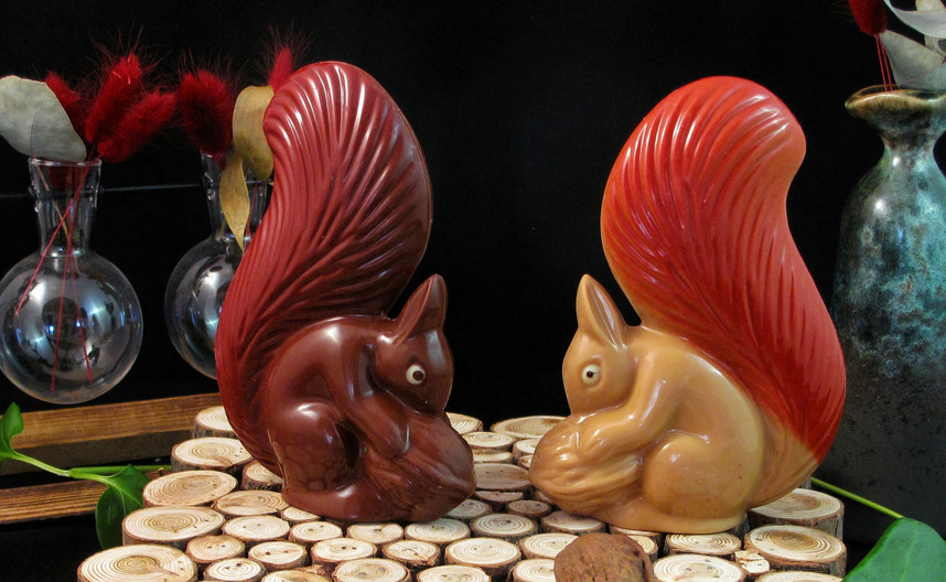 écureuils en chocolat