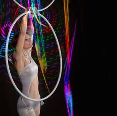 Colorful hula hoop performance