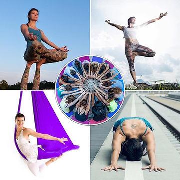 Alle Flow Yoga Multi Styles auf einen Blick: Vinyasa Flow, Hatha Yoga, Yin Yoga, Aerial Yoga, Community Yoga.