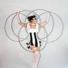 Picture of Lisa in Black and WHite dress and Hula Hoop