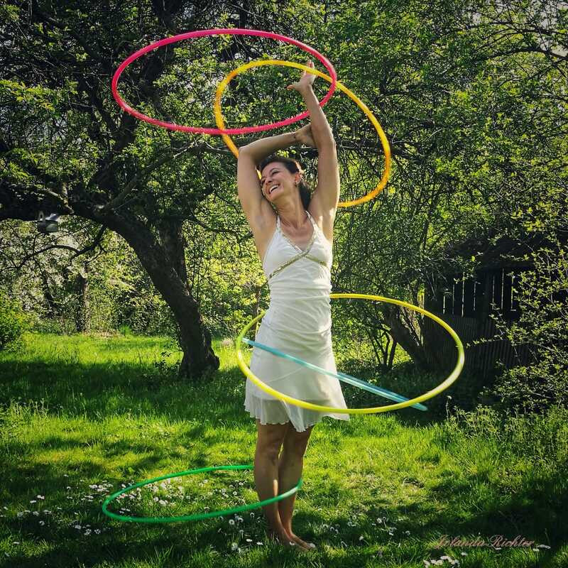 Multi Hula Hooping in nature during spring