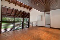 Gallery walkway with garden view