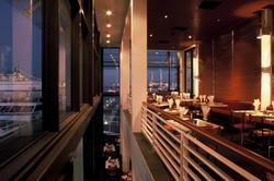 Internal view of restaurant at night
