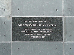 Plaque at the entrance