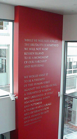 Memorial wall with A. Kathrada quote