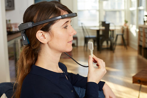 Woman wearing the BrainPort Vision Pro