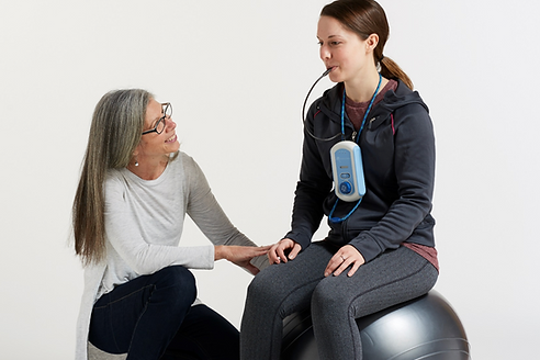 Woman training with the BrainPort Balance Plus