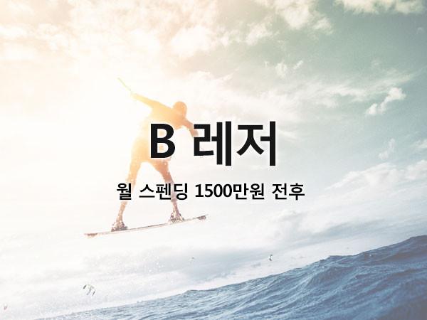 B 레저 / 월 스펜딩 1500만원 전후