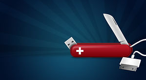 Photo of a tech knife - a swiss army knife with USB and data tools attached. Represents technical help with Content Marketing tools.