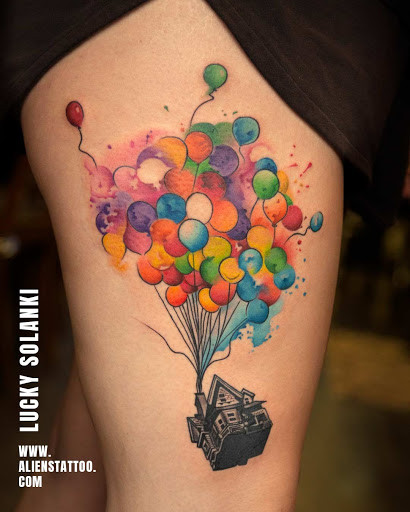 House with watercolour balloons done at Aliens Tattoo Studio