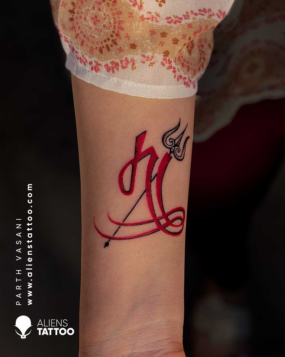 Calligraphy 'Mother' tattoo with Trishul made at Aliens Tattoo Studio India