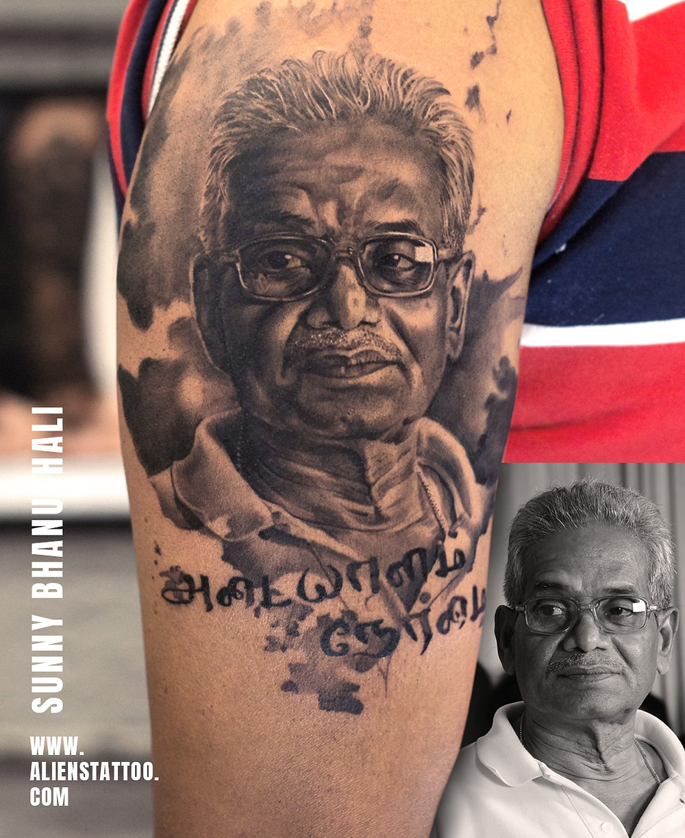 Black and White Portrait Tattoo with Phrase made at Aliens Tattoos India