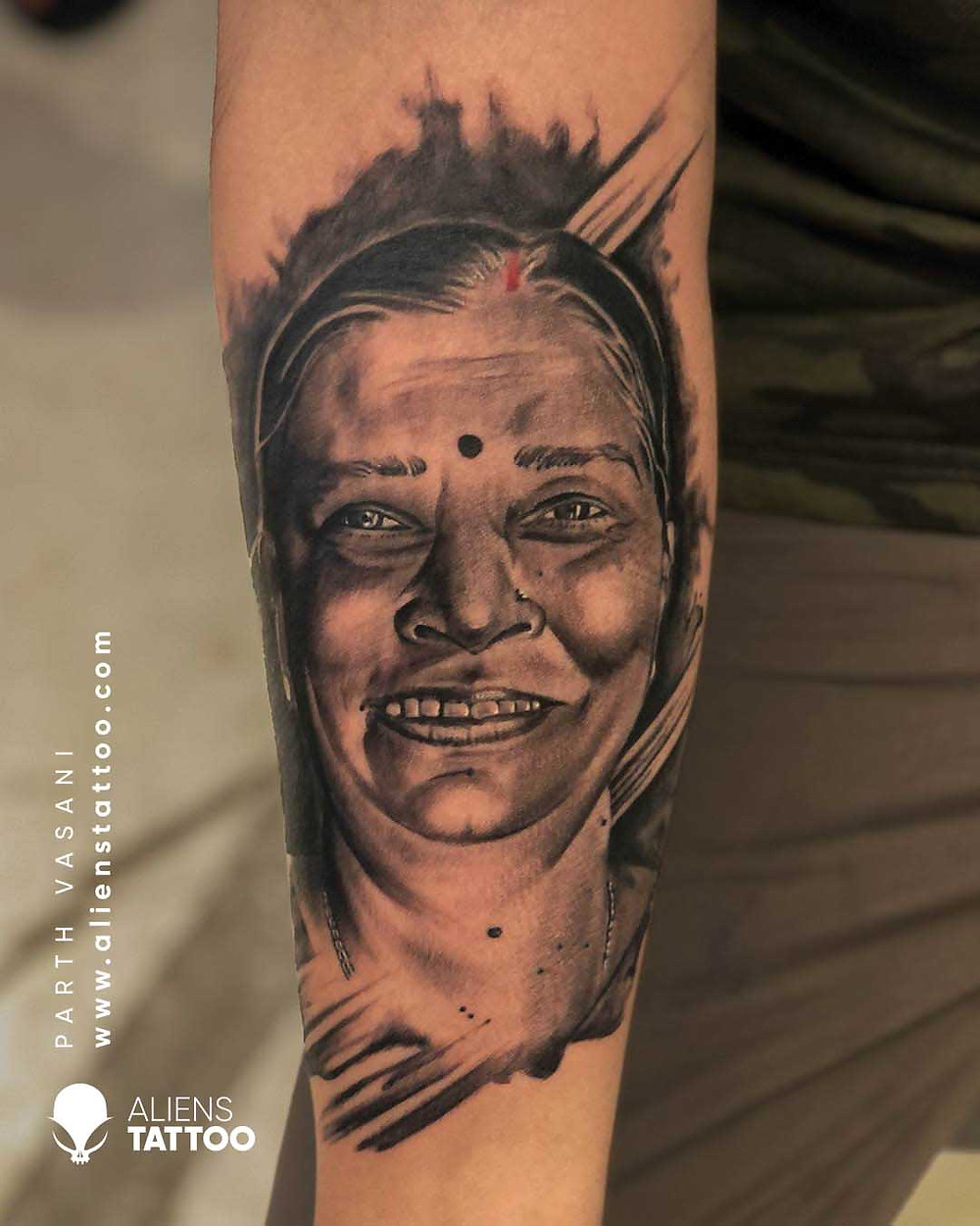B&W Portrait Tattoo made at Aliens Tattoo Studio India