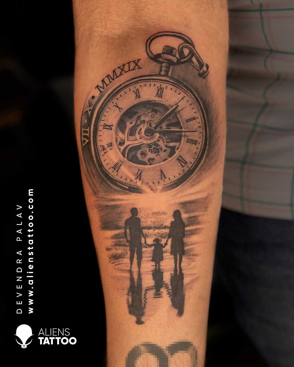Mom-Dad Tattoo with Pocket Watch made at Aliens Tattoo Studio India