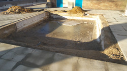 excavating the steps in the baby pool