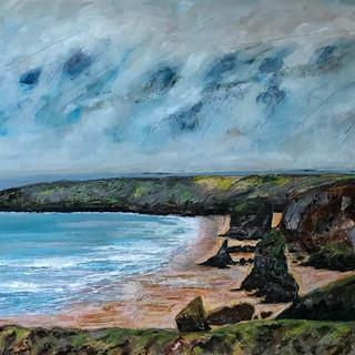 Mixed Media, North Cornwall coast. On bo