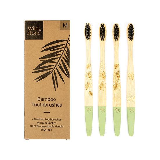 Adult Bamboo Toothbrushes 4 pack - Medium Bristles