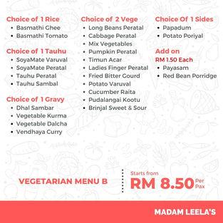 Vegetarian Menu B