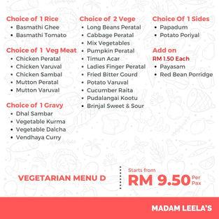 Vegetarian Menu D