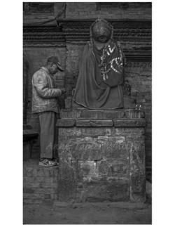 Man at Hindu Shrine