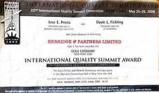 International Quality Summit Gold Award