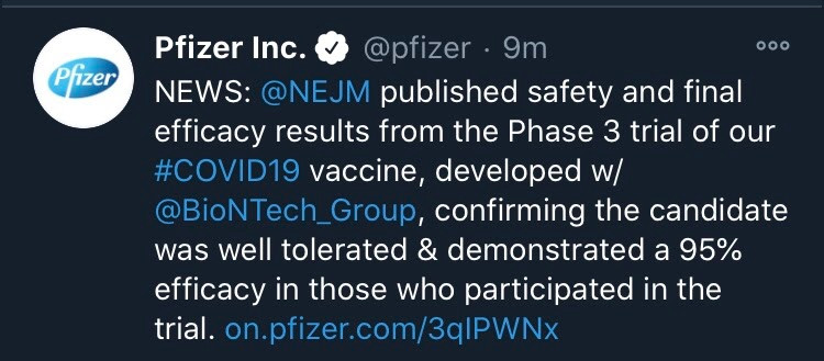 Tweet from Pfizer's  Twitter page announcing the New England Medical Journal has confirmed  the 95% efficacy rate that was reported by Pfizer.