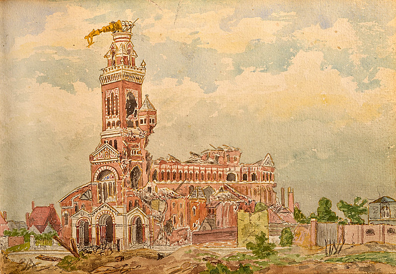 Painting of a bombed out church