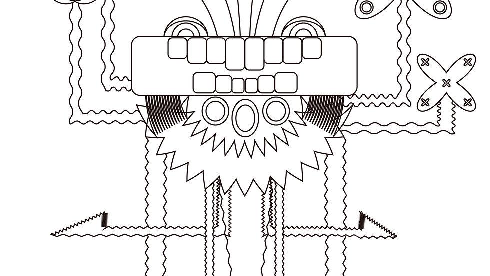 「毘沙門天」グラフィックデザイン/graphic design:耳つき和紙 + 箱額セット
