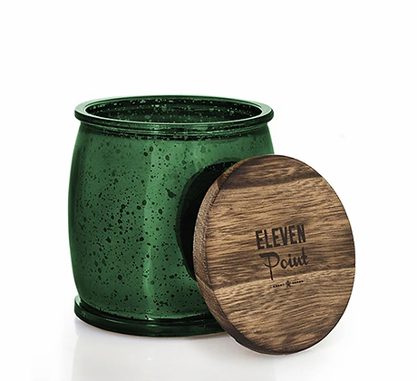 Eleven Point Mercury Barrel Candle Green