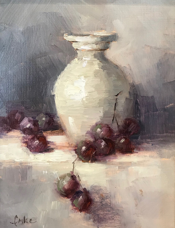 White Pitcher with Grapes