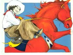 Lithograph Red Horse Rider