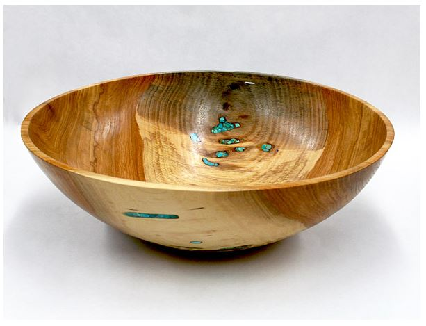 Pecan Bowl with inlaid Turquoise