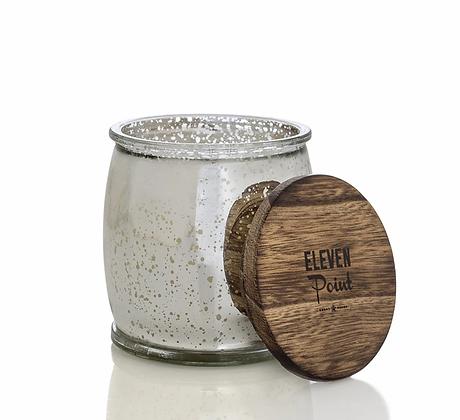 Eleven Point Mercury Barrel Candle Silver