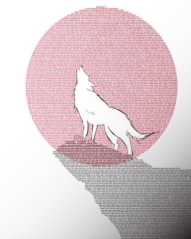 Created using Illustrator; used only typeface (wolf is drawn with parentheses and slashes).