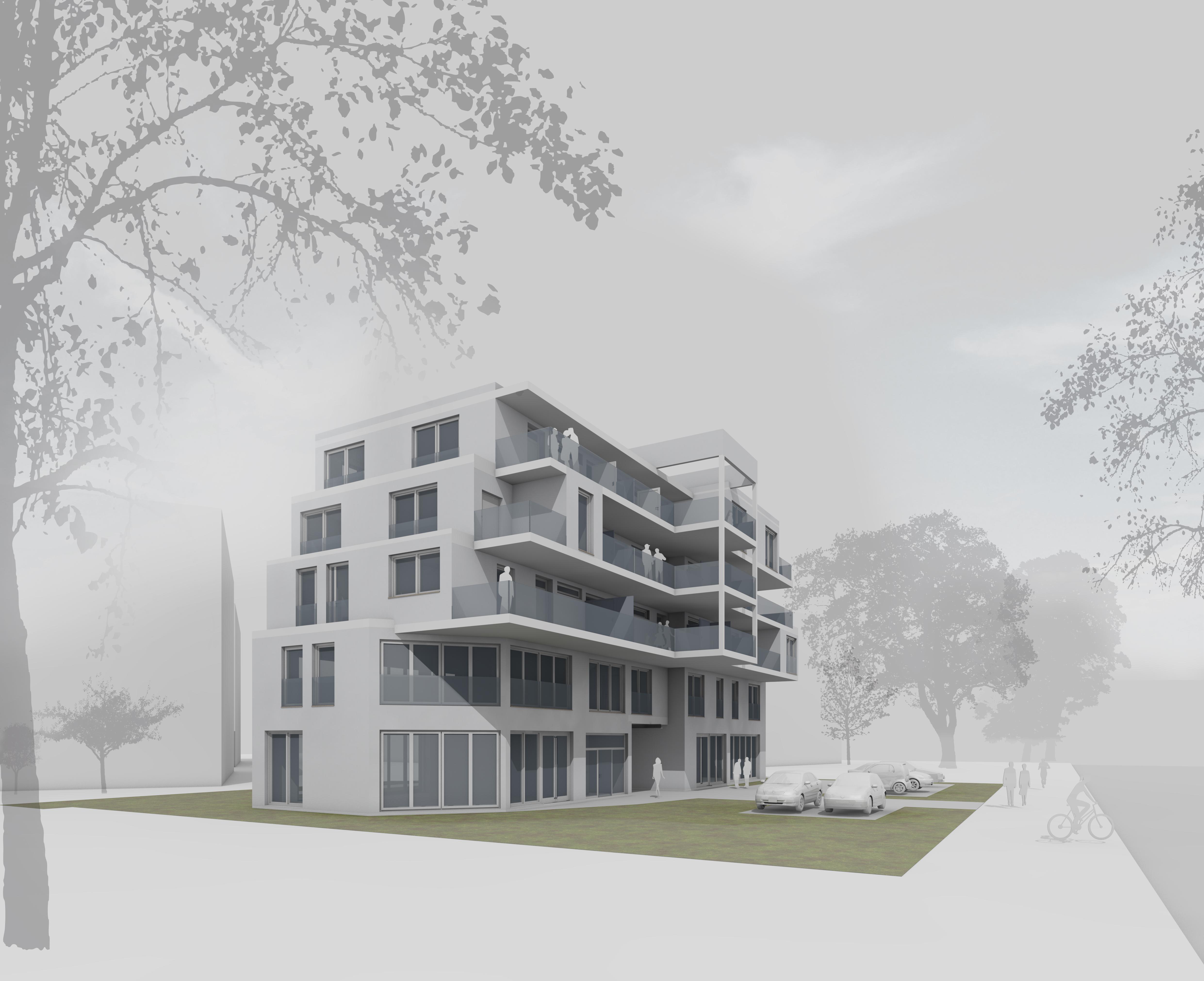 Neubau- Konzept mit Laubengang