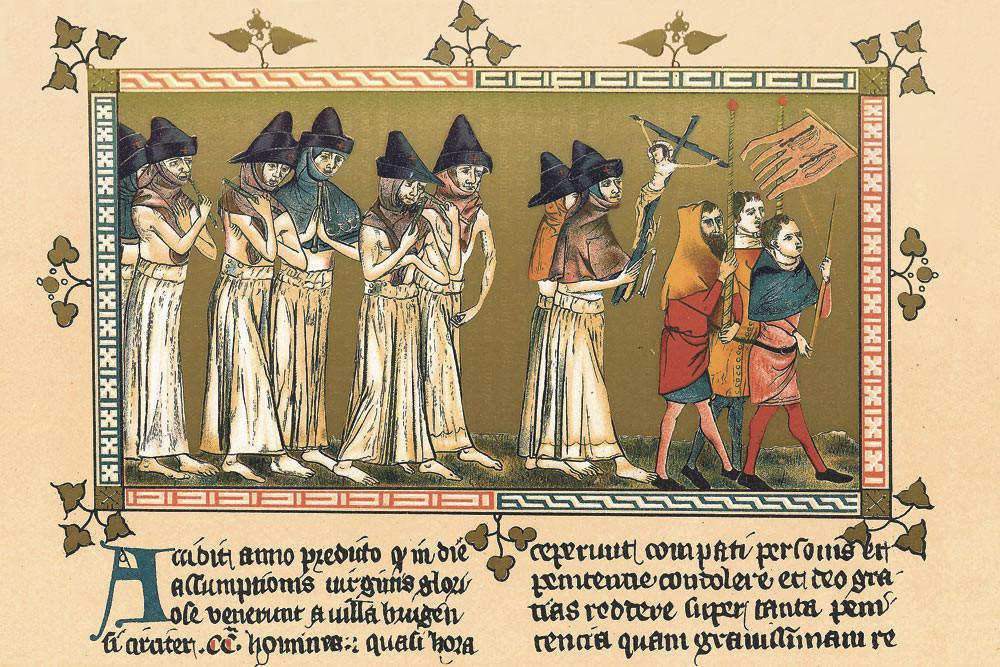 Procession des flagellants de Bruges, à Tournai, le jour de l'Assomption 1349 - © Via Wikimedia Commons