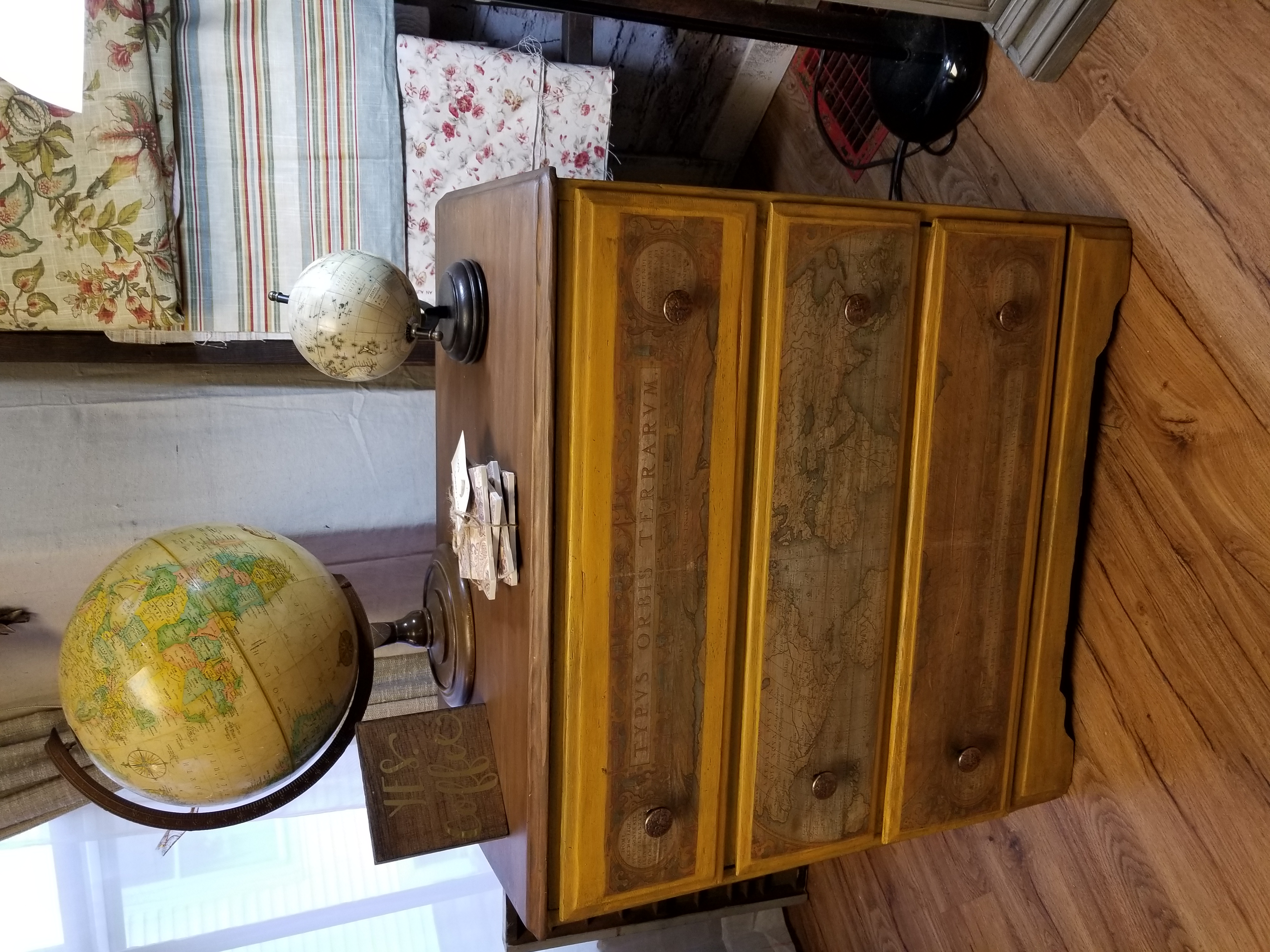 World Map Small Dresser