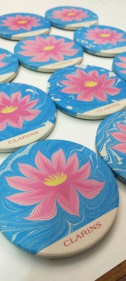 Ebru Art Lily Ceramic Coasters