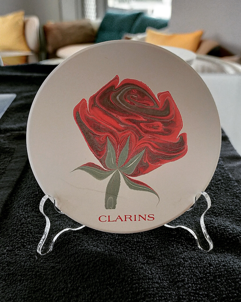 Clarins Rose on Ceramic Coaster