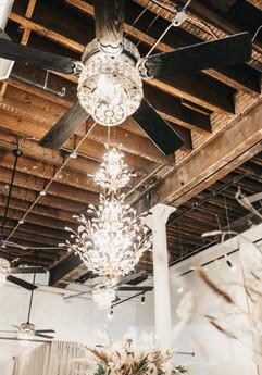Chandelier in bridal shop