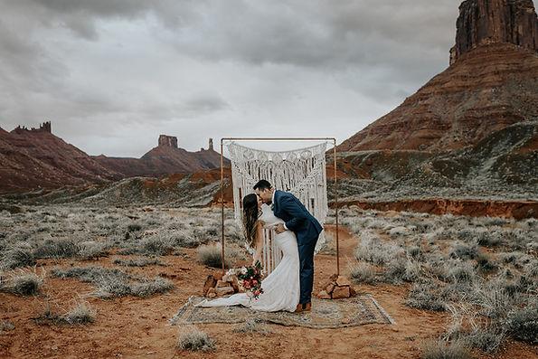 Utah elopement bride and groom